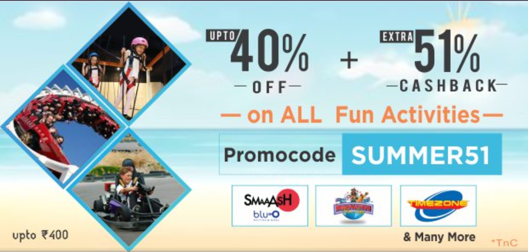 Upto 40% Off + Xtra 51% Cashback Upto ₹400 on ALL Activities (Little App)