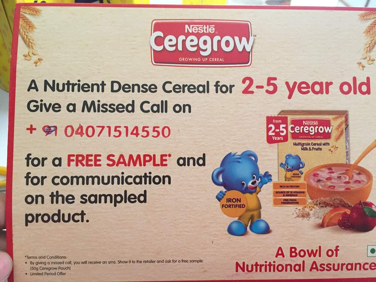 A Missed Call Can Get You Free Sample of Nestle Ceregrow 50g