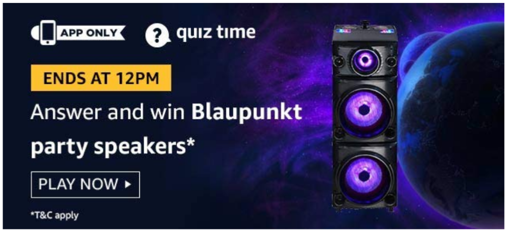 [ 26th July 2019 ] Amazon Quiz Answers Today - win Blaupunkt Party Speakers