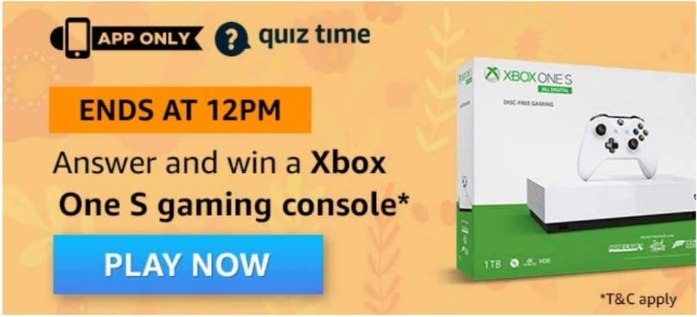 Amazon Quiz 11 April 2020 Answers - Win Xbox One S Gaming Console
