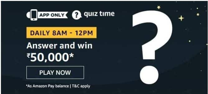 Amazon Quiz 10 September 2020 Answers Win-Rs.50000