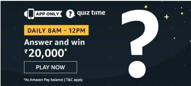 Amazon Quiz 3 September 2020 Answers Win-Rs.20,000