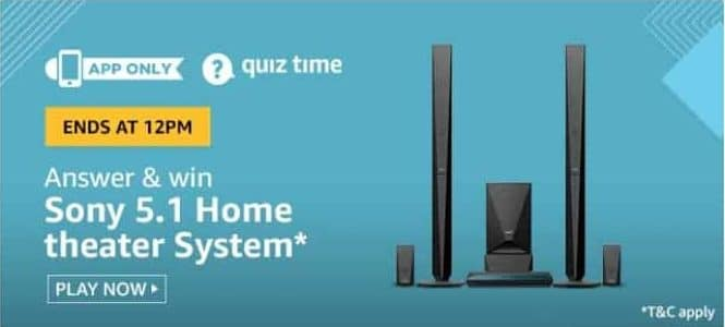 Amazon Quiz 5 June 2020 Answers Win-Sony 5.1 Home Theater System