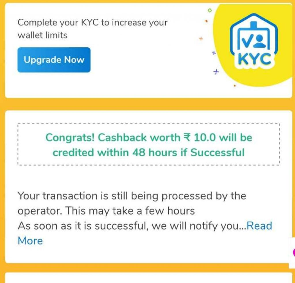 Mobikwik Recharge Offer - Get 10 Cashback on Recharge of 10Rs.