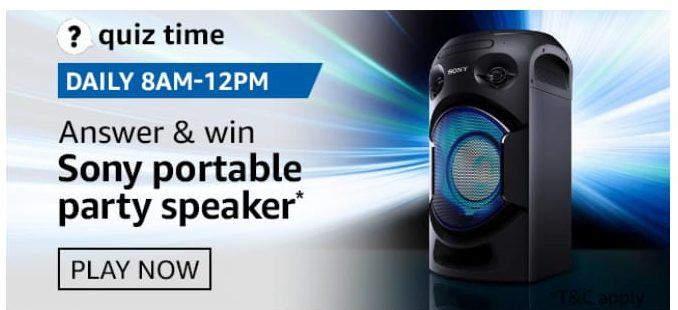 Amazon Quiz 5 September 2020 Answers Win-Sony portable party speaker