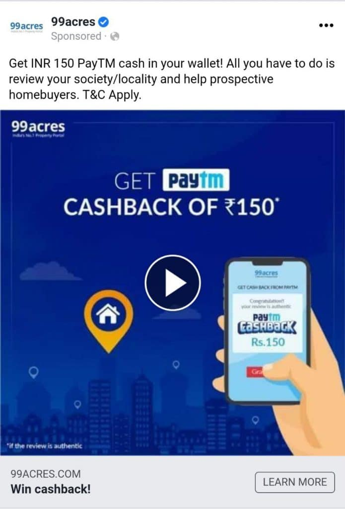 99acres review paytm offer